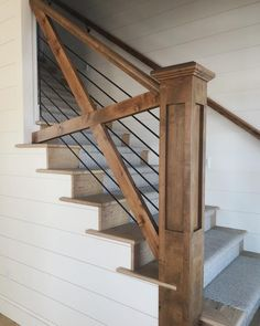 Guide to simple stair railing ideas for interior designs. See pictures of stair railings including contemporary, traditional, rustic & modern designs. stairs 16 Creative Stair Railing Ideas To Develop a Focal Point in Your Home Farmhouse Stairs, Modern Farmhouse, Farmhouse Style, Rustic Modern, Rustic Stairs, Wooden Stairs, Wooden Shutters, Painted Stairs, Modern Loft
