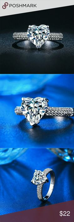 NEW GORGEOUS HEART SHAPE RING New 925 silver ring. Heart shape cubic zirconia center stone 4 Bidden Boutique Jewelry Rings