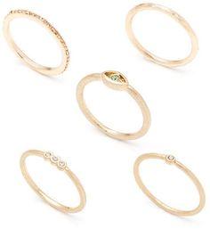 Lonna & Lilly Gold-Tone Glitz Ring Set - 5