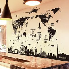 World Map Wall Stickers DIY Europe Style Buildings Wall Decals for Living Room Company School Office Decoration - # World Map Sticker, World Map Wall Art, World Map Painting, Kids Wall Decor, Modern Wall Decor, Travel Wall Decor, Wall Decorations, Art Pour Salon, Wall Decor Stickers