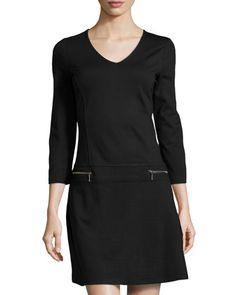 Three-Quarter Zip V-Neck Ponte Dress, Onyx by Neiman Marcus at Neiman Marcus Last Call.