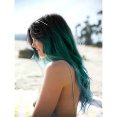Off Black to Teal Green to Teal Blue Mermaid Colorful Ombre Indian... ❤ liked on Polyvore featuring accessories, hair accessories, hair, hair extension accessories, indian hair accessories and teal hair accessories