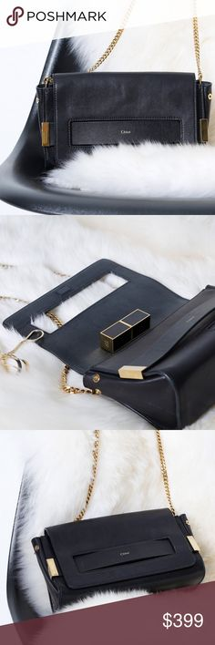 """CHLOE black leather shoulder bag with gold chain 100% authentic Chloé. Lightly used, terrific condition! The pictures in the listing are of the actual bag for sale. Perfect """"anytime"""" purse made from black leather with understated chic gold accents. 10"""" wide x 6"""" tall x 3.5"""" deep /// chain drops 20 inches. Hope you love it as much as we do -xo Chloe Bags Shoulder Bags"""
