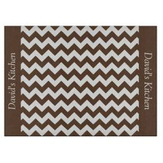 Mocha Brown Chevron Glass Cutting Board .............This design features a Mocha Brown Chevron pattern. The TEXT on both sides (left and right) can be customized with your own name. Check out my store for more colors.