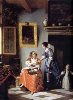 La mujer da más dinero a su sirviente - Pieter de Hooch -1670.jpg