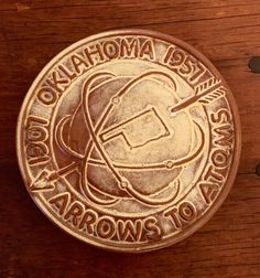 RARE Frankoma Pottery 1957 Oklahoma Arrows to Atoms trivet in excellent condition. by HappyCreekFarm on Etsy