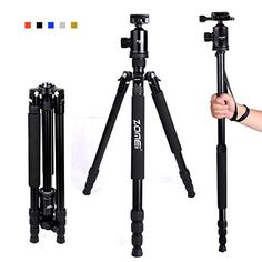 Introducing Zomei Z818 65inch Lightweight Camera Tripod Aluminum Portable Detachable Monopod 360 degree Ball Head 14 Quick Release Plate with Carrying Bag for Canon Nikon Sony  33lbs15kg Load Black. Great product and follow us for more updates!