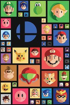 Una ilustración que representa toda la lista (sin DLC) del juego de Wii U / 3DS, Super Smash Brothers. La obra contiene el retrato de todos los personajes en la lista. Y para cualquier persona que era mi principal curiosidad es Sonic. • Also buy this artwork on wall prints, apparel, stickers y more.