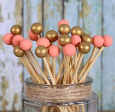 Coral & Gold Painted Rock Candy Kabob Sticks (12)