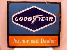 eBay: VINTAGE GOOD YEAR TIRES PORCELAIN ENAMEL SIGN RARE AUTOMOBILE PETROL PUMP SIGN #vintage #retro