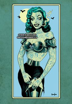 Zombie Pinup Rockabilly Pinup tattooed by MarcusJonesArt on Etsy
