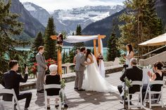 Fairmont Chateau Lake Louise Alberta Elopement Romance in the Rockies bride and groom wedding photos