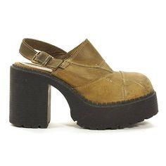 e82dbfb581f 90s Platform Mules   Vintage 1990s Chunky Block Heel Clogs Brown Patchwork  Leather High Heel Shoes   Grunge Boho Rocker Clueless Womens 8.5