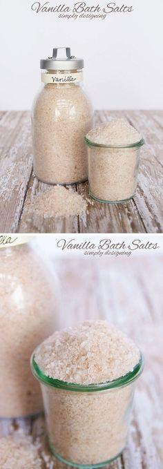 Vanilla Bath Salts   17 DIY Bath Salts   Learn How To Make The Most Relaxing Bath Salt Recipes by DIY Ready at  http://diyready.com/17-diy-bath-salts-bath-salt-recipe/