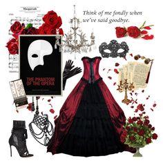 """Phantom of the Opera"" by amelia-carnero ❤ liked on Polyvore featuring Masquerade, Dsquared2, Simone Rocha and OKA"