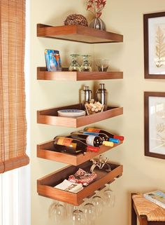 Floating Corner Shelves Love The Corner Pull Out Drawer