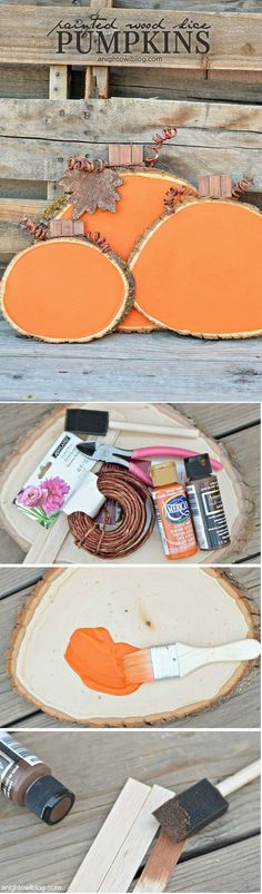Check out the tutorial how to make DIY wood slice pumpkins for fall decor @istandarddesign