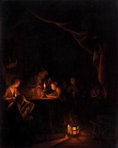 A Escola Noturna, Gerrit Dou - c. 1660 no Rijksmuseum Amsterdam  A Escola Noturna, de Gerrit Dou - circa 1660 no Rijksmuseum de Amsterdam, é o melhor exemplo de cenas à luz de velas por onde ele se destacou  Em uma sala de aula escura, um professor levanta um dedo advertindo um menino que está na sombra, enquanto uma menina diligentemente recita sua lição na luz brilhante de uma vela.   Representada desta maneira, a luz assume um significado mais profundo como a luz do conhecimento. Dou…