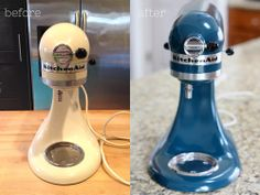 a kitchenaid mixer makeover - Hand Mixer - Ideas of Hand Mixer - Kitchen Aid Mixer makeover DIY This would be awesome for getting a second hand mixer that's a great deal but wrong color! Kitchen Aid Mixer, Kitchen Appliances, Paint Appliances, Kitchens, Kitchen Hacks, Kitchen Stuff, Kitchen Ideas, Kitchen Colors, Kitchen Inspiration