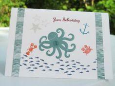 Karte mit Meeresgetier Stempelset Stampin up Sea street SU Geburtstag