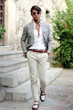 Men's Grey Blazer, White Dress Shirt, Beige Chinos, White and Brown Leather Loafers