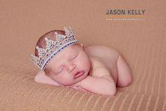 Newborn Baby Boy Champagbe and Blue Lace Crown by yaeldesigns1, $14.95