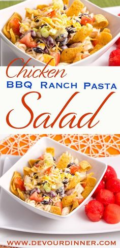 Wonderful Delicious Pasta Salad. Chicken BBQ Ranch Pasta Salad is amazing. Perfect for dinner, Potlucks or bringing to the office. We love it! #devourdinner  #recipes  #recipe  #food  #Foodie  #Foodblogger  #easyrecipes  #dinner  #appetizer  #Sidedish  #dessert  #yummy #pasta #Pastasalad #BBQ #Chicken #ranch #buzzfeast