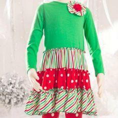 Mallory May Stripe Flower Holiday Tunic from Freckles Children's Boutique for $59.00