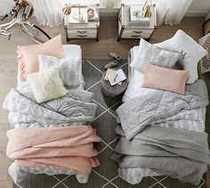 Shop Pottery Barn for expertly crafted dorm bedding and bedding sets. Find quality college bedding in different materials and colors and create a stylish dorm room. Cozy Bedroom, Girls Bedroom, Bedroom Decor, Bedroom Ideas, Pottery Barn, College Room, College Dorm Bedding, Family Room Design, My New Room