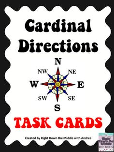 Cardinal Directions Task Cards from Right Down the Middle with Andrea on TeachersNotebook.com -  (11 pages)  - Cardinal Directions Task Cards are used to reinforce the skills students need to know for reading maps. This task card set uses the cardinal directions north, south, east, and west. Students will use the map 'Bentley Community Map' to answer the 20 task c