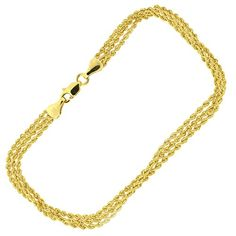 Yellow Gold Three Row Rope Chain Bracelet 725 * Details can be found by clicking on the image. (This is an affiliate link) Ankle Bracelets, Link Bracelets, Affordable Watches, Rope Chain, The Row, Diamond Cuts, Gold Necklace, Detail, Yellow