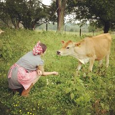 Momma with her cow.