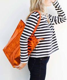 Wood Wood - Leather Tote Bag - Metallic Orange, $200.00 (http://www.lustcovetdesire.com/leather-tote-bag-metallic-orange/)