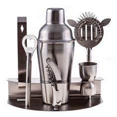Amazon.com: Cuisine Prefere Pro Stainless Steel Bartender Martini Shaker Cocktail Bar Tool Set with Strainer Corkscrew Bottle Opener Jigger Ice Tongs and Storage Rack: Home & Kitchen