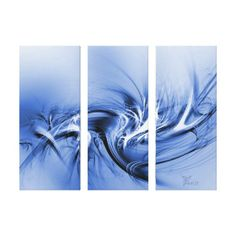 - Mystic - Abstract Swirls In Blue, Black And White - 3-panel (Triptych) Canvas Print
