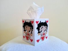 Betty Boop Tissue Box Cover In Plastic Canvas by paulieshoppe, $10.00