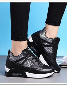 Fashion Women Sneakers Sequins Lace Up Running Shoes – Agodeal Moda Sneakers, Sneakers Mode, Wedge Sneakers, Sneakers Fashion, All Black Sneakers, Fashion Shoes, Shoes Sneakers, Fashion Black, Fashion Women