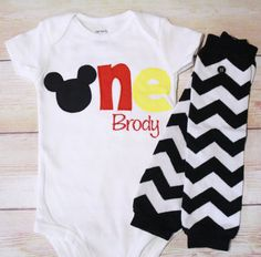 """Mickey Mouse Inspired """"One"""" Shirt for 1st Birthdays - Boy Birthday Outfit - Classic Mickey - Red, Black and Yellow - 1st Birthday Shirt on Etsy, $33.00"""