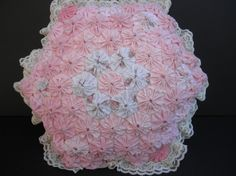 Shabby Chic  COTTON PILLOW with yoyos flowerslace by junquedujour, $14.00