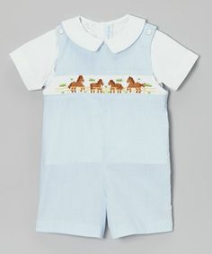 Take a look at this White Tee & Blue Gingham Horse John Johns - Infant & Toddler by Vive La Fête on #zulily today!