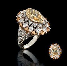 A rare coloured diamond and diamond ring, by Buccellati
