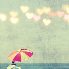 off - Beach Photography - Summer photography umbrella nursery decor art for kids room decor hearts bokeh pastel wall art sunshine Umbrella Photography, Greece Photography, Summer Photography, Fine Art Photography, Travel Photography, Entryway Art, Parasols, Umbrellas, Sun Worship