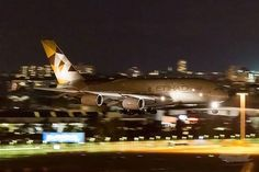 Night Flight - A stunning shot of Etihad Airways A380 arriving at Sydney Airport