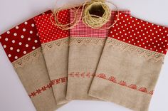 Christmas Craft Show, Christmas Sewing Projects, Christmas Bags, Christmas Pillow, Burlap Gift Bags, Fabric Gift Bags, Jute Bags, Sachet Bags, Fabric Wallet