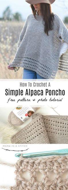 Light Alpaca Poncho Crochet Pattern via @MamaInAStitch Easy crochet pattern with a picture tutorial! #crafts #diy #crochetpattern #knittingpattern #poncho #style