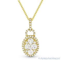 The featured pendant is cast in 14k yellow gold and showcases an elegant design paved with round brilliant cut diamonds set on the oval outlines and all the way up to the loop.