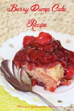 So EASY cherry dump cake in the slow cooker! You must try  it!
