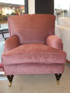 Simmons bespoke armchair, traditional, deep and shown in Osborne & Little's Rondelle red and cream spots. Changing the castor legs makes this look more contemporary, should you be wondering. Bespoke Sofas, Traditional Sofa, Cushion Filling, Sofa Bed, Cribs, Accent Chairs, Armchair, Cushions, Legs