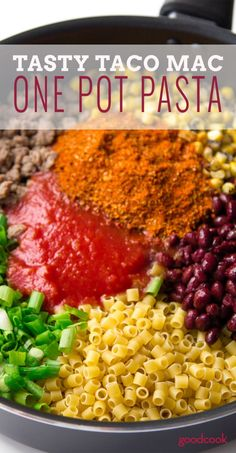 One-Pot Pasta: Tasty Taco Mac Superquick Weeknight Dinner Alert! This Tasty Taco Mac is a one pot pasta you'll make again and again. It takes just 5 minutes to prep and comes together quick. Mexican Food Recipes, Beef Recipes, Cooking Recipes, Healthy Recipes, Skillet Recipes, Cooking Gadgets, Taco Pasta Recipes, Cooking Utensils, Easy Recipes