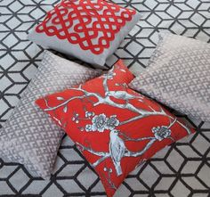Quick Ship!Vintage Blossom Square Throw Pillow in Persimmon